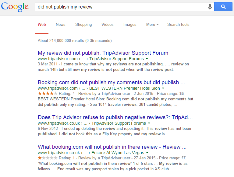 Did not publish my review