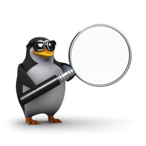 3d Penguin offers you his magnifying glass